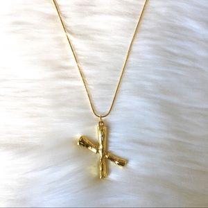 Final Price! Initial Letter X GP Bamboo Necklace